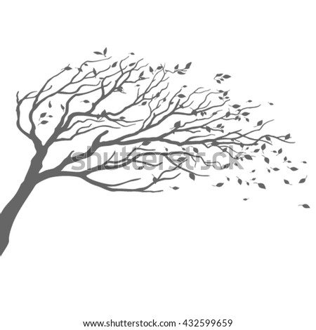 Tree in wind with flying leaves - stock vector