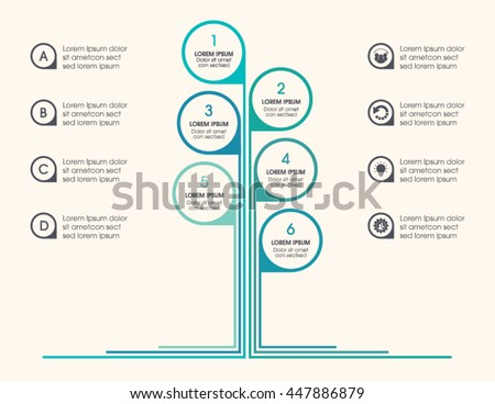 Tree infographic with icons, numbers and placeholder text. Green business diagram, and template.  Vector timeline and industry growth chart. - stock vector
