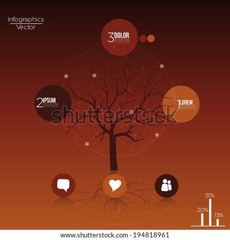 Tree Infographics with Abstract Background - Vector Illustration - stock vector