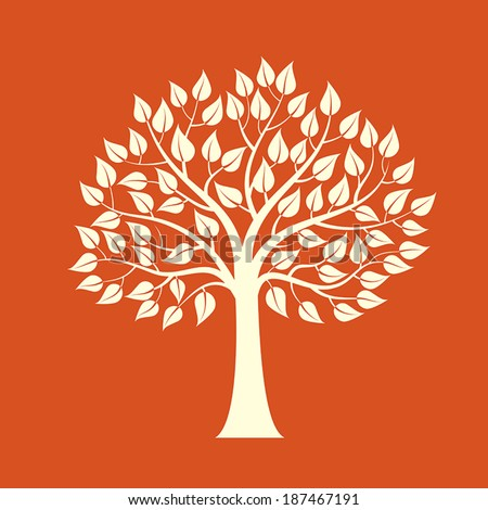 Tree isolated on a red background - stock vector