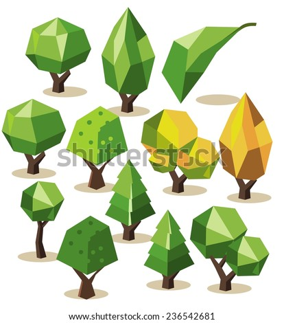 Tree Isometric set. vector illustration - stock vector