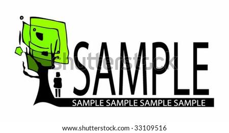 Tree label 2 - stock vector