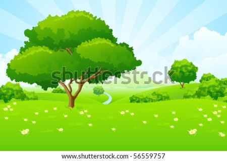 Tree Landscape with blue sky mountains flowers and clouds - stock vector