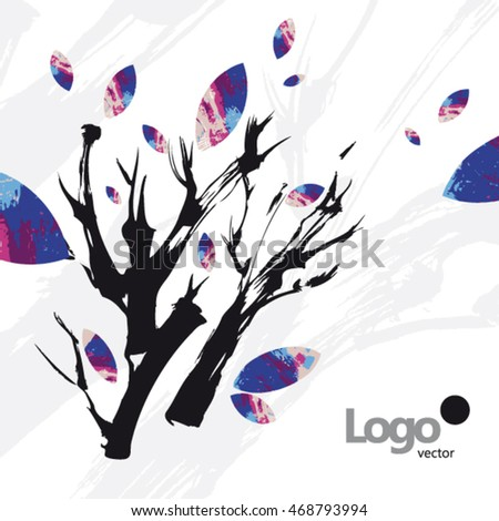 Tree Leaves Art Abstract Branch Card Stock Vector 2018 468793994