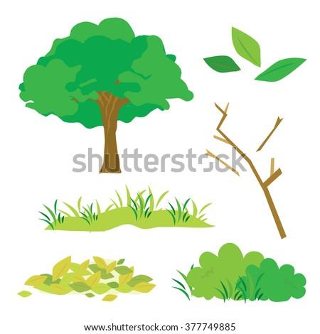 Tree Leaves Grass Bush Branch Flora Cartoon Vector  - stock vector