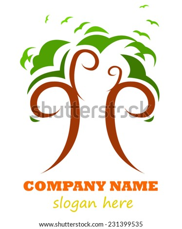 Tree logo design - stock vector