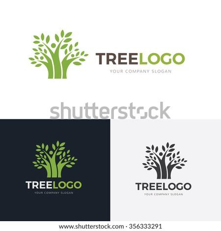 Tree Logo,Family logo,Eco logo,Green Logo,Vector Logo Template - stock vector