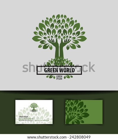 tree. logo, icon, sign, emblem, template, business card - stock vector