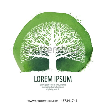 Tree logo. Leafless tree icon. Nature, ecology sign. Environment symbol vector illustration - stock vector