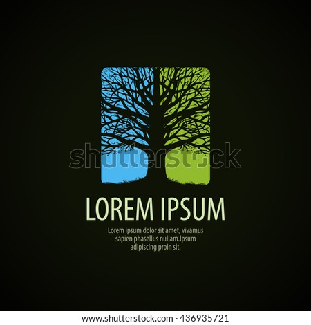 Tree logo. Tree without leaves sign. Nature, environment or ecology icon. Vector illustration - stock vector