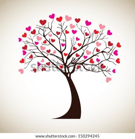 tree love over beige background vector illustration  - stock vector