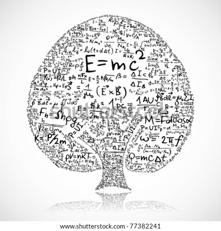 Tree made of equations and formula - stock vector