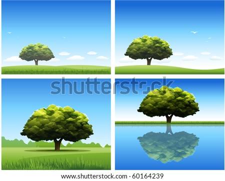 Tree nature landscape background - stock vector