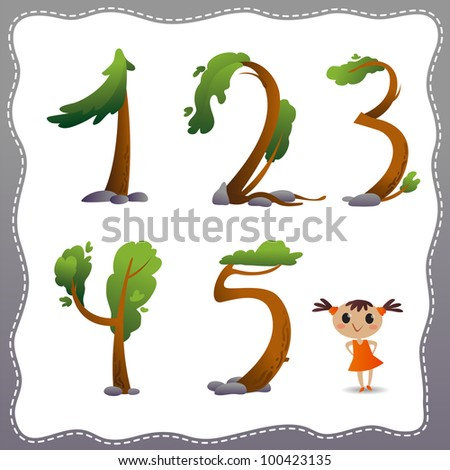 Tree number on white background. - stock vector