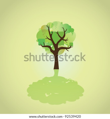 tree of bubbles abstract illustration - stock vector