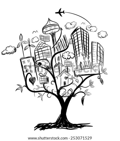 Tree of city life illustration pencil drawing vector - stock vector
