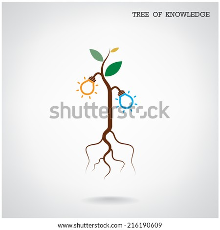 Tree of Knowledge concept. Education and business sign. Vector illustration  - stock vector