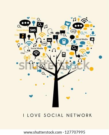 tree of love social media - stock vector