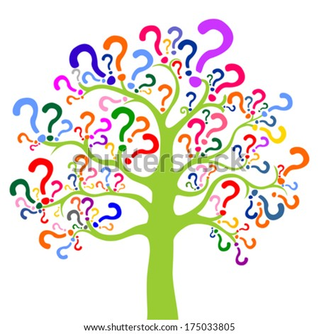 Tree of questions isolated on White background. Vector illustration