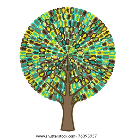 Tree of sociology - people icon - stock vector