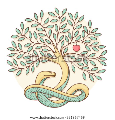 Tree of the knowledge of good and evil with snake and apple. Colorful design. Vector Illustration - stock vector