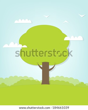 tree on glade - stock vector