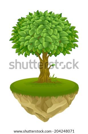 Tree on the island - stock vector