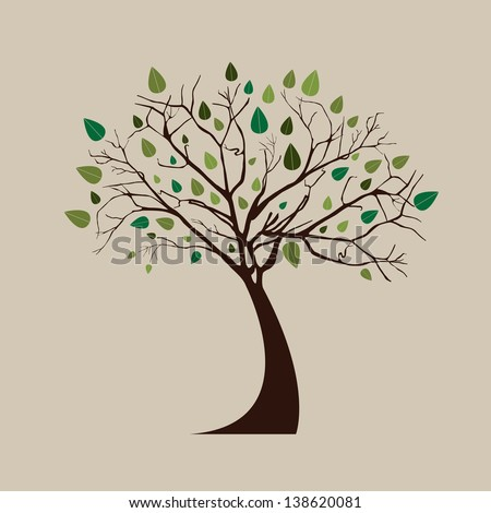 Tree over white background vector illustration - stock vector