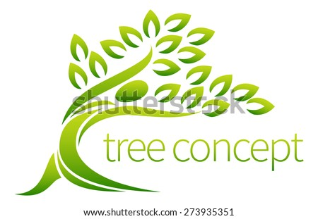 Tree person symbol concept of a stylised tree in the shape of a human figure with leaves, lends itself to being used with text - stock vector
