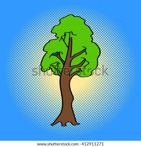 Tree Pop art vector illustration. Beautiful green maple tree in comic style. Hand drawn - stock vector