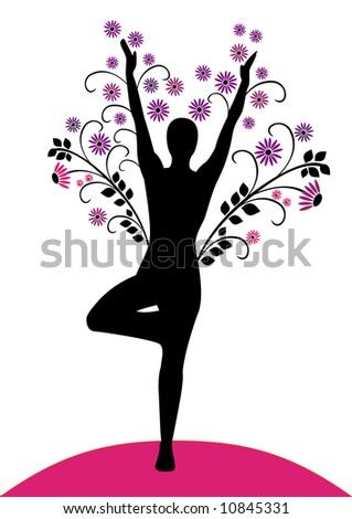 Tree pose silhouette with flowers. - stock vector