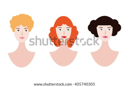 tree pretty girls with curly hair. vector faces - stock vector