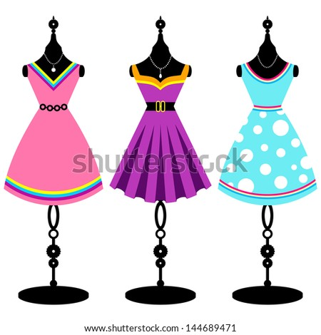 Tree retro dresses on body forms / fashion mannequin