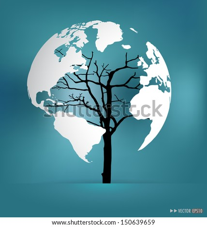 Tree shaped world map. Vector illustration. - stock vector
