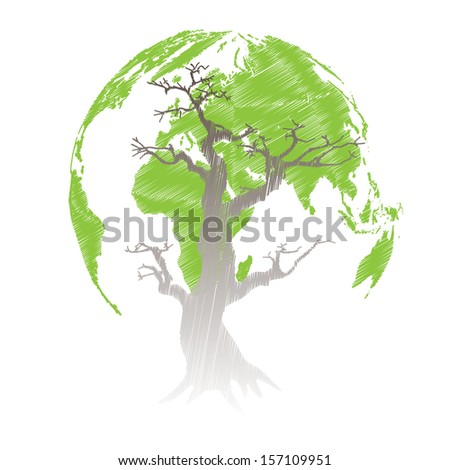 Tree shaped world map. Vector illustration