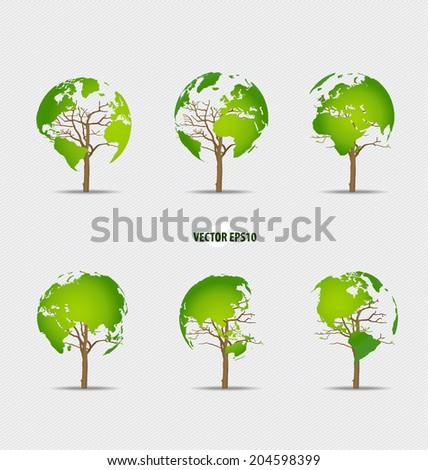Tree shaped world map. Vector illustration. - stock vector
