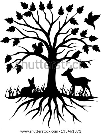 Tree silhouette background - stock vector