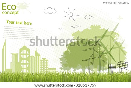 Tree silhouette, home, city, mill on the green grass. Ecologically clean world. Vector illustration of ecology the concept of information graphics. Doodle - stock vector