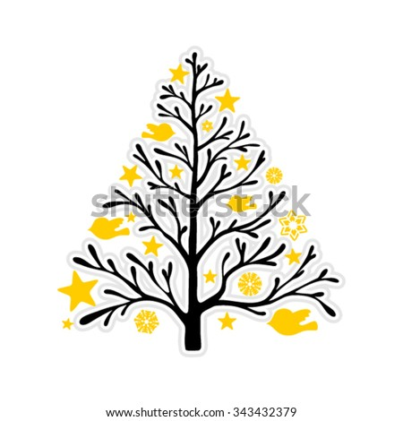Tree silhouette isolated on white background - stock vector
