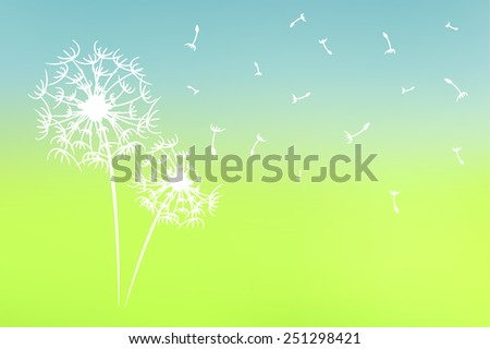 tree silhouette on abstract blurred natural background - stock vector
