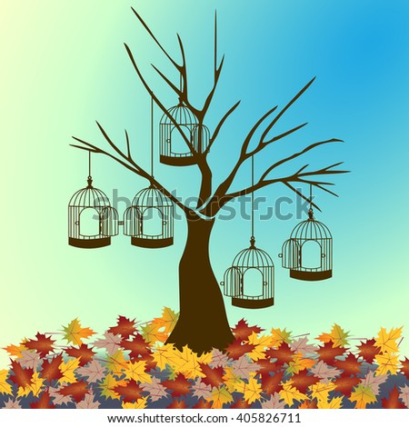 tree silhouette with bird cage isolated on sunset maple fall leaves background.vector illustrator. - stock vector