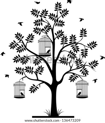 tree silhouette with birds flying and bird in a cage - stock vector