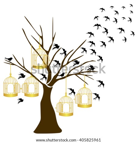 tree silhouette with birds flying and gold bird cage isolated on white background.vector illustrator. - stock vector