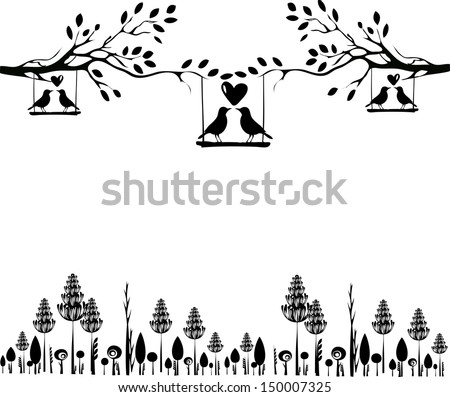 Tree silhouette with birds in love on a swing - stock vector