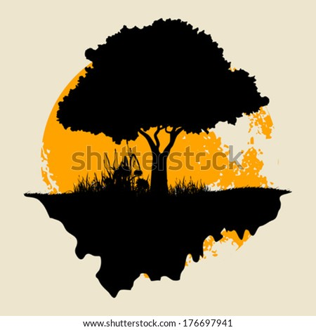 Tree Silhouette with Grass and  Moon - stock vector