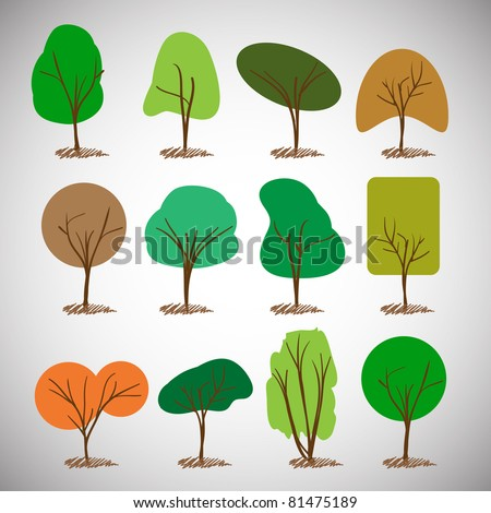 Tree silhouettes collection - stock vector