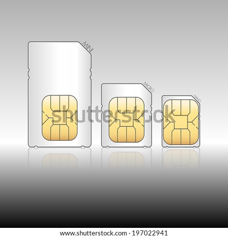 Tree size of sim cards, mini sim, micro sim, nano sim, Vector graphic - stock vector