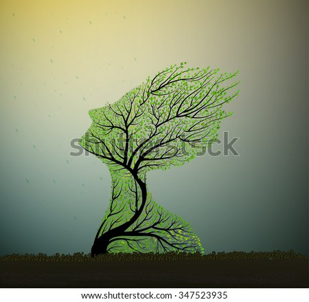 tree soul, tree looks like a woman's head stretching her face to the sun and rain, nature icon concept, plant alive, save the forest idea, vector - stock vector