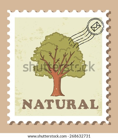 Tree stamp, natural - stock vector