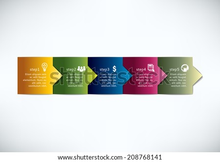 Tree steps arrows for presentations. - stock vector